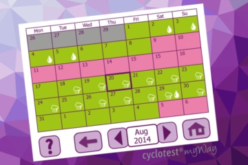 The Calendar of cyclotest myWay gives an outlook of the fertile and infertile days of the current cycle.