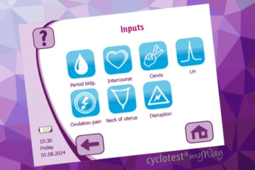 Inputting information on the female cycle with cyclotest myWay.