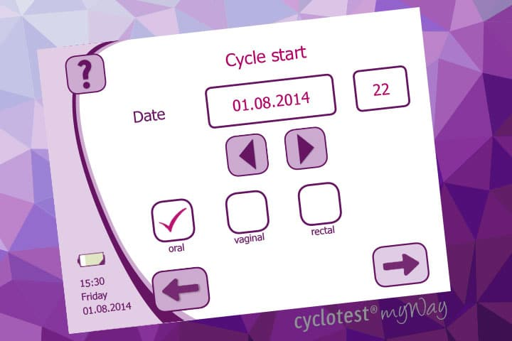 Entering the start of a cycle with cyclotest myWay.
